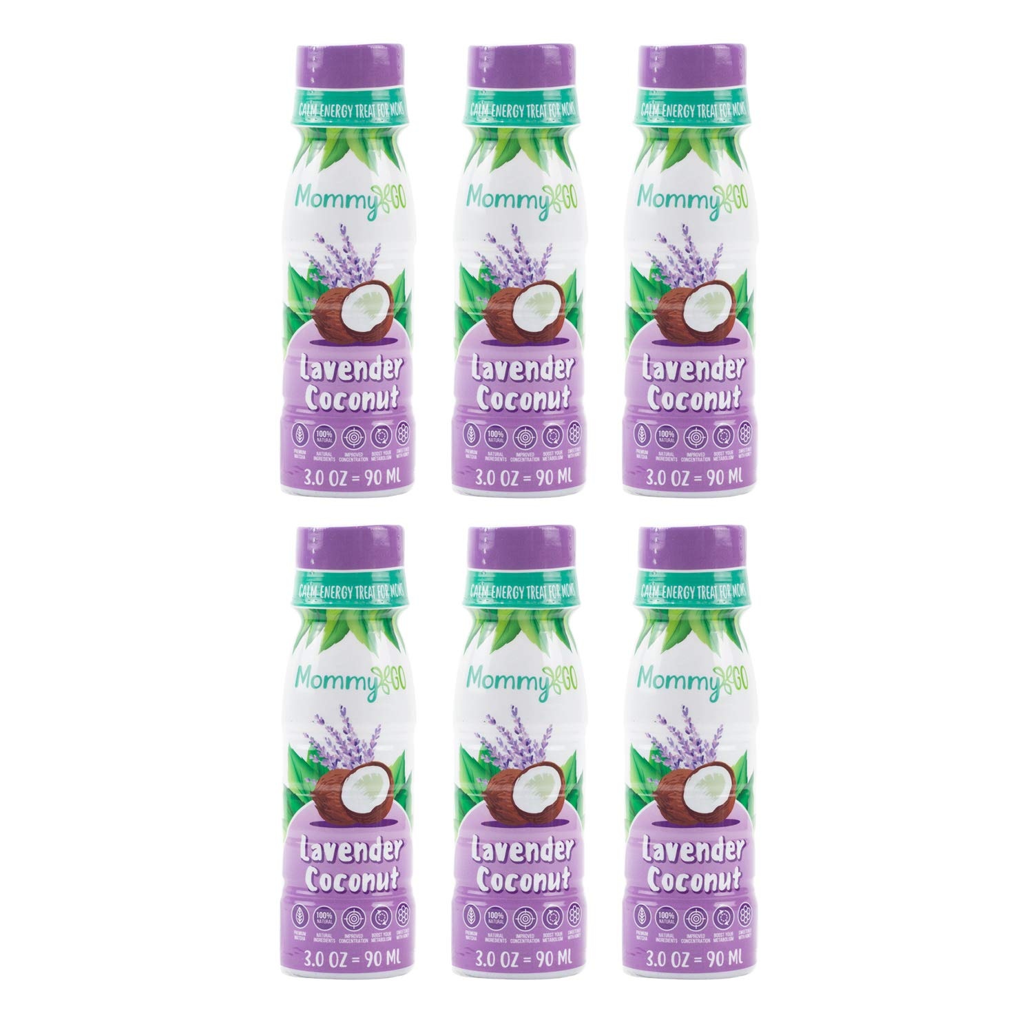 MommyGo Natural Energy Shots- Extra Strength Brain Boost Supplement with Matcha Green Tea for Boost In Daily Performance, Energy, Mood & Alertness- Delicious Lavender Coconut Flavor 6 Pack by Mommy GO