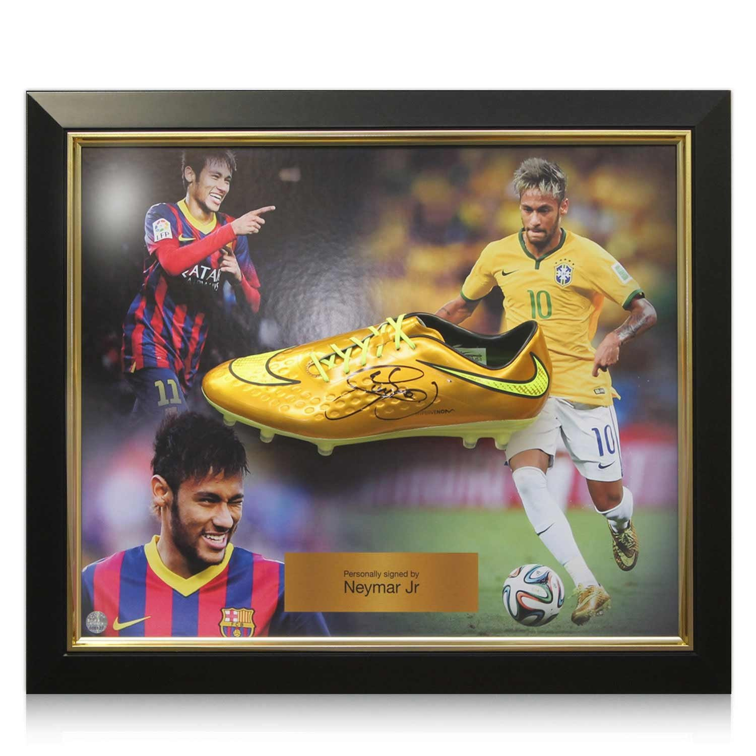Deluxe Framed Neymar Jr Signed Nike Hypervenom Gold Soccer Shoe at Amazons Sports Collectibles Store