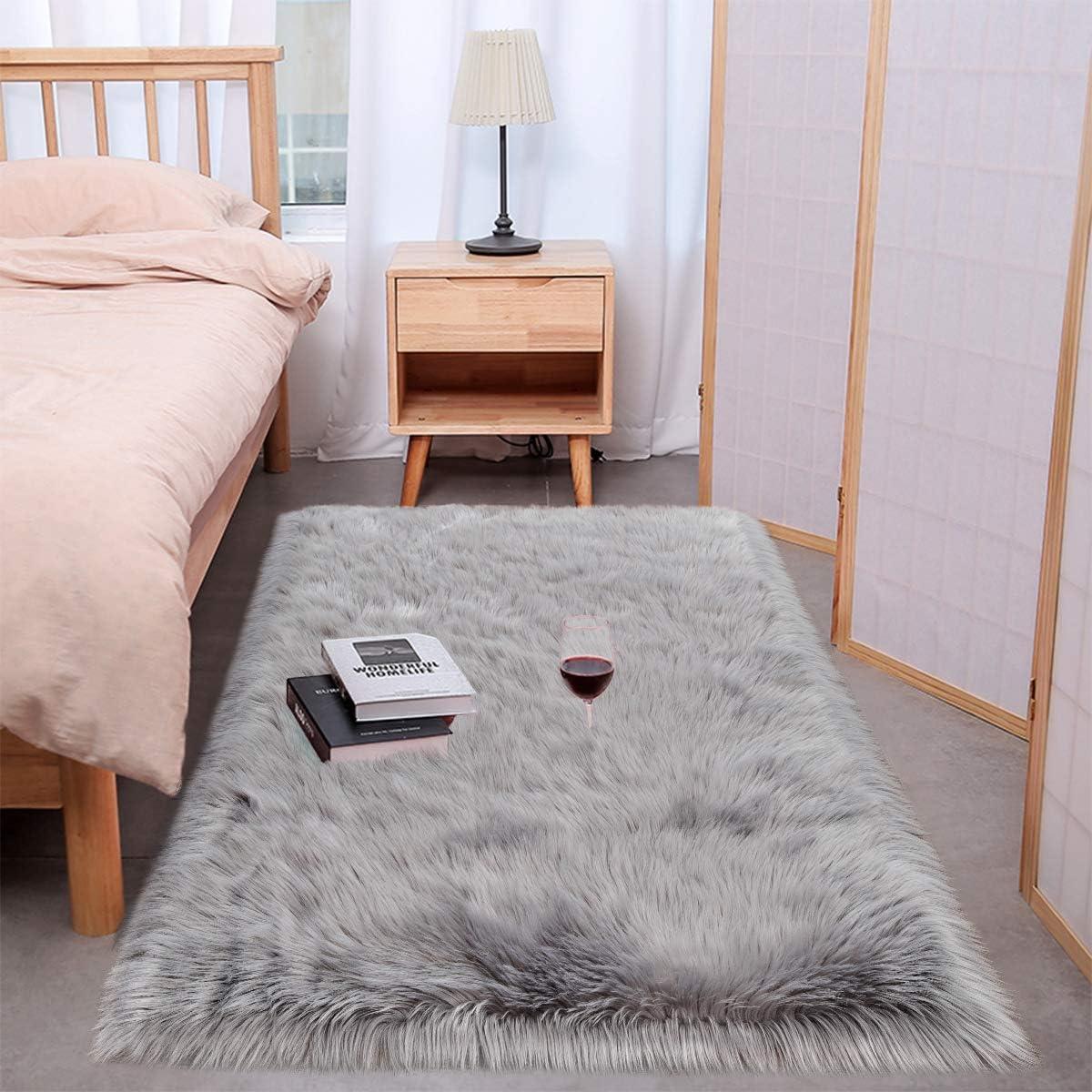 Wondo Soft Shag Faux Fur Sheepskin Area Rugs for Bedroom Home Decor Floor Sofa Couch Fluffy Carpet Chair Cover Cushion 2ft x 3ft,Grey