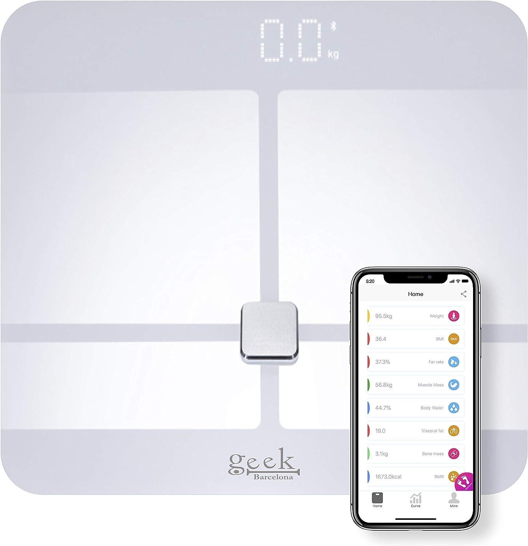 Bascula Grasa Corporal y Muscular App gratuita para Android e iOS muy fácil de usar Admite Varios Usuarios Mide Grasa Corporal y Visceral Hidratación Masa Corporal Muscular y Osea Metabolismo Basal: Amazon.es: