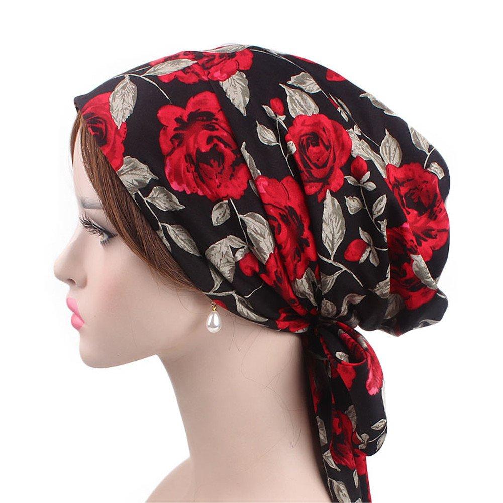 Vintage Women Cotton Head Scarf Chemo Cap Bowknot Turban Head wrap (red Rose)
