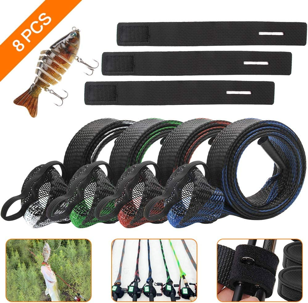 SAYOPIN 8pcs Fishing Rod Sleeves Set 4pcs Braided Mesh Rod Socks 67 Pole Gloves Rod Protector Cover 1 Multi Jointed Fishing Lure for Bass 3Fishing Rod Belts Straps Fishing Tools Accessories.