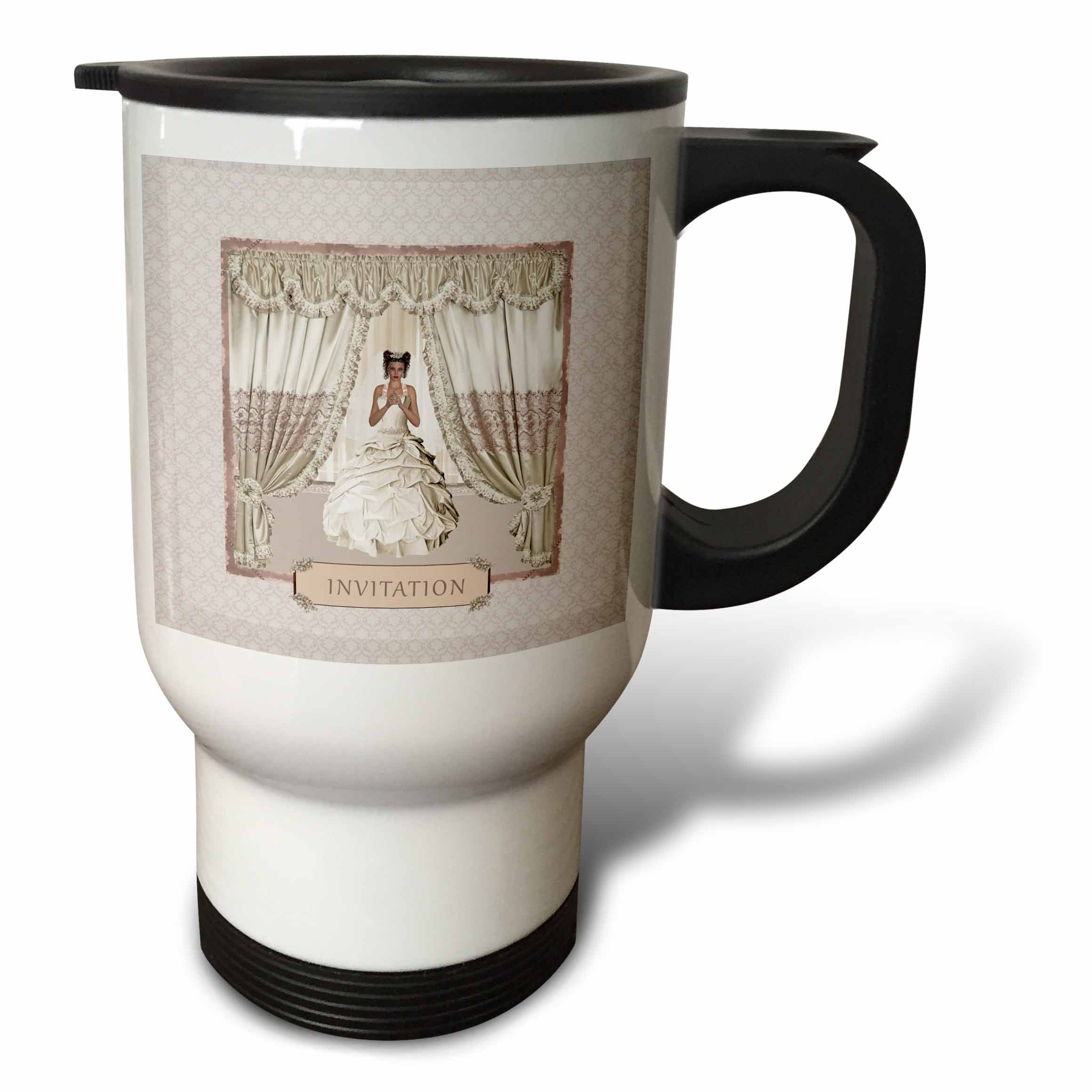 3dRose Beverly Turner Wedding Bridal Party Design - Bride in Wedding Gown, Drapes in Window, Invitation, Cream and Rose - 14oz Stainless Steel Travel Mug (tm_282068_1)