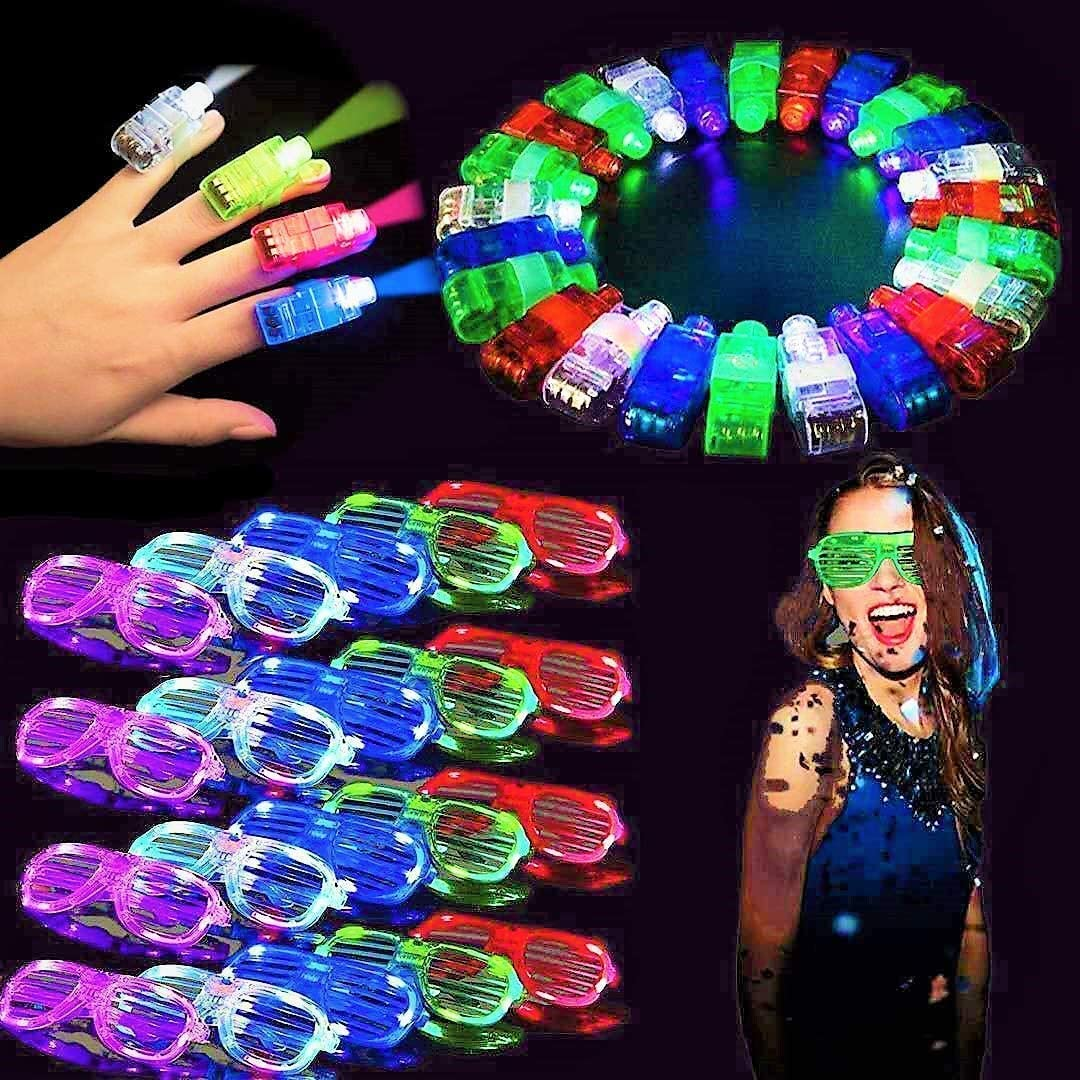 fluffy 40 Pack Light Up Glasses and Light Up Finger Light Grow Party Favors 20 Glow Sticks Glasses and 20 Glow Finger Lights, Neon Birthday Party, Carnival Party, Christmas Party, Suitable for Children and Adults to Glow in the Dark Party Glow Toys new year Christmas Party Supplies Favors Gift