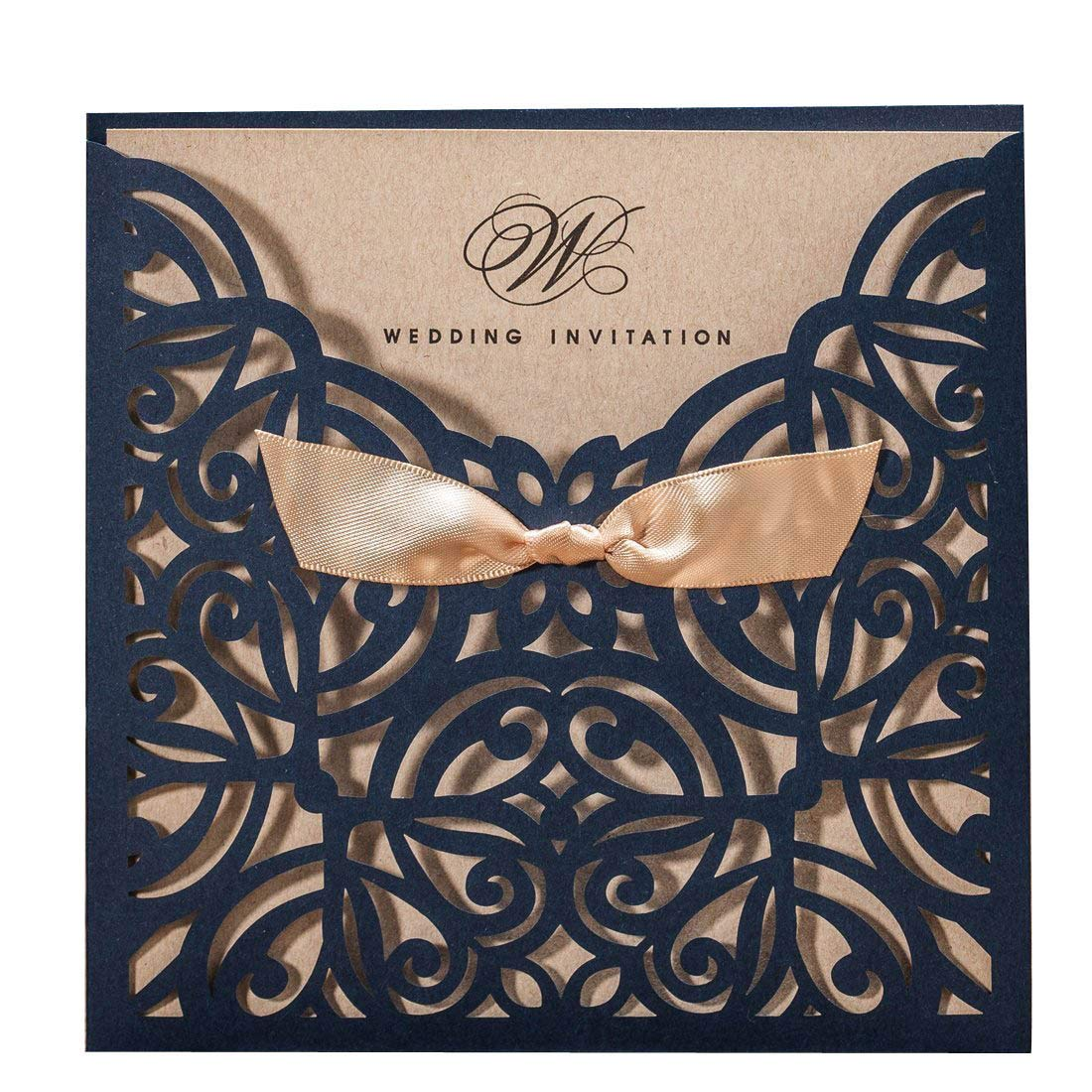 WISHMADE Laser Cut Wedding Invitations Cards with Bow Lace Sleeve Navy Blue Rustic Cardstock for Engagement Baby Shower Birthday Quinceanera (50 Pieces, White with Pink)