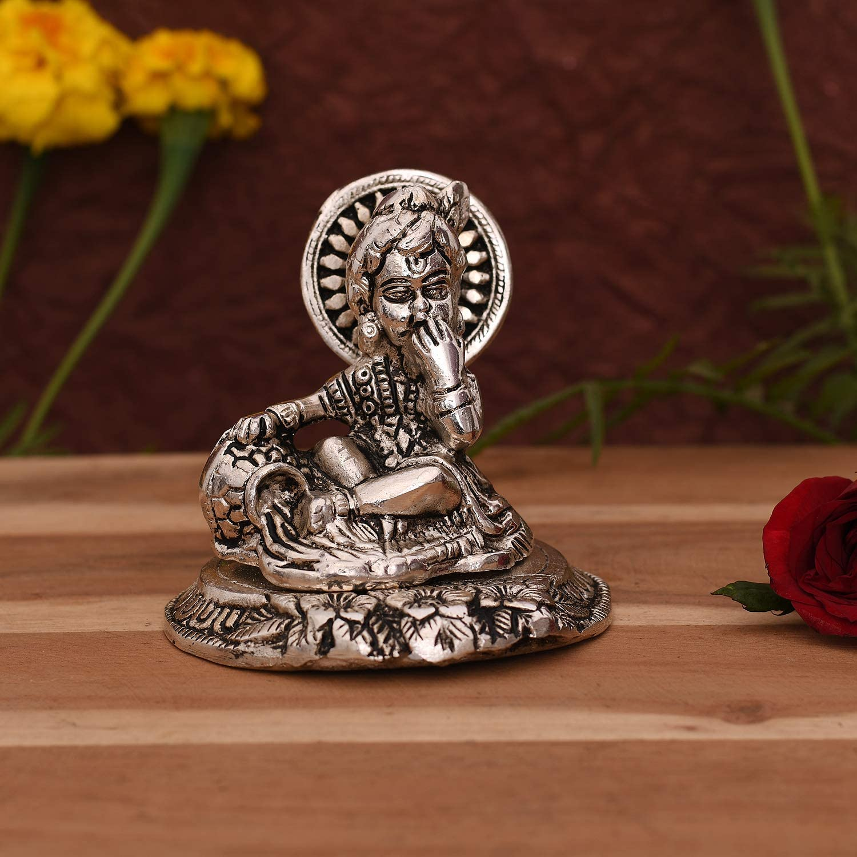 CraftVatika Laddu Gopal Makhan Krishna Statue Idol - Bal Gopal Murti for Puja Gifting Home Decoration