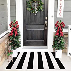 Cotton Black and White Striped Rug | 27.5 x 43 Inches | Washable Hand-Woven Outdoor Rugs for Layered Door Mats Stripe Carpet Porch/Kitchen/Farmhouse/Entryway