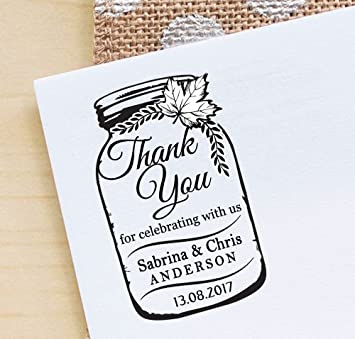 Amazon Com Custom Wedding Self Inking Rubber Stamper Thank You Mason Jar Stamps Gifts Ideas Office Products