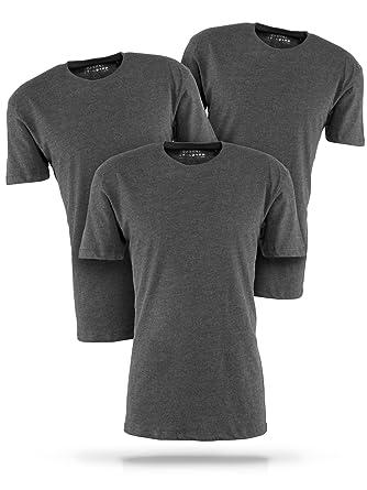 f2c76dd050 Basic T-Shirt Herren grau mit Rundhals - 3er Pack Shirts aus Baumwolle  einfarbig (