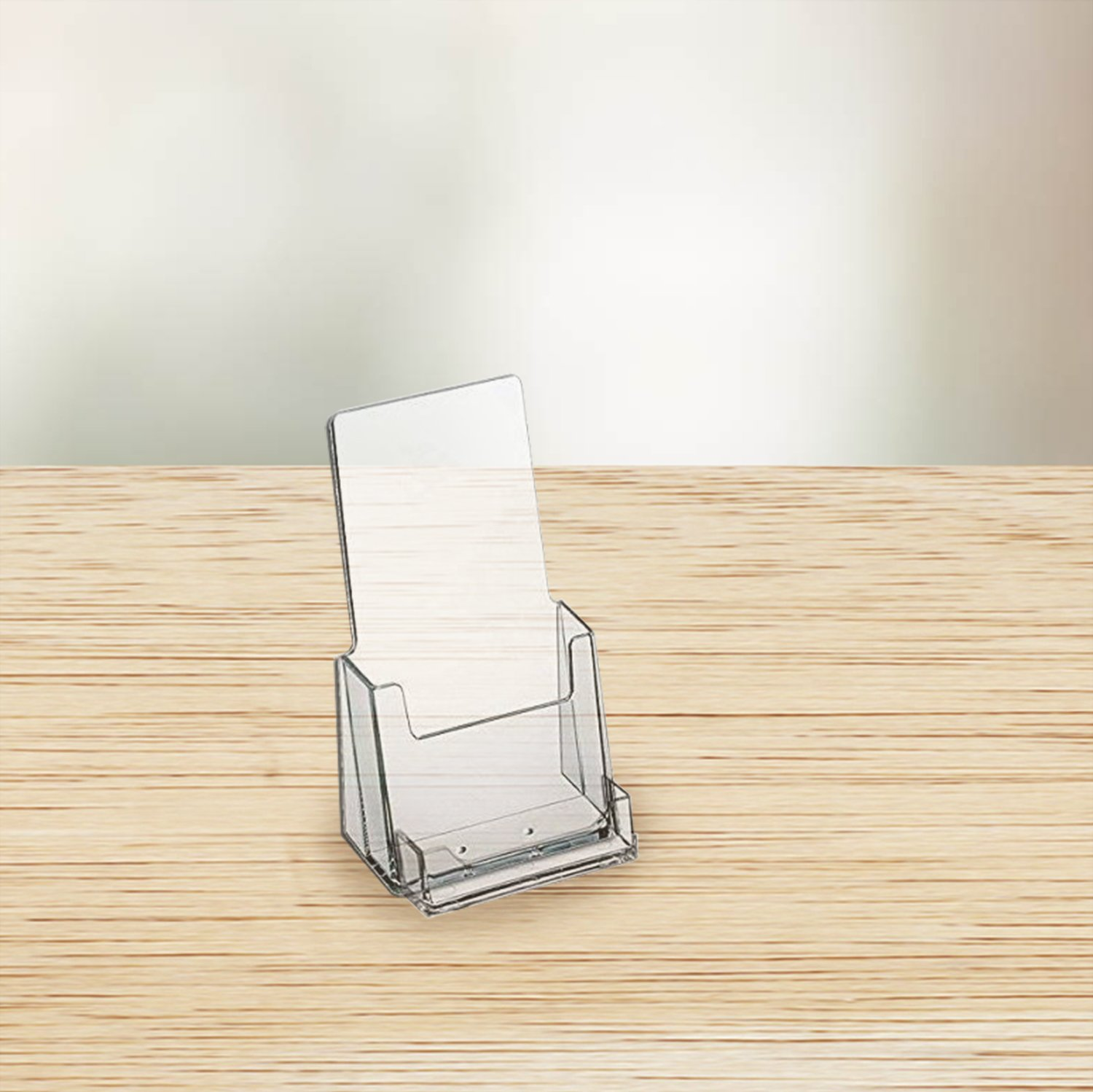 Source One Premium Counter Top Acrylic Clear Brochure Holder with Business Card Holder 4 inch Wide (S1-CT-TRIWBC) (2 Pack)