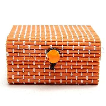 Caja de Slmacenamiento, Anillo collar pendientes bambú madera caso joyería cajas de almacenamiento titular Posh LMMVP (D, 7cm x 7cm x 4cm): Amazon.es: ...