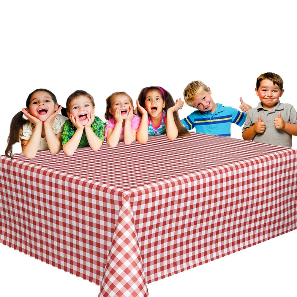 12 Christmas Party Vinyl Tablecloths - Red and White Checked Picnic Camping Party Supply Table Cover. Birthdays, Gatherings, Holidays, BBQ s - 108 x 54 inches Vinyl Tablecloth by Toy Cubby