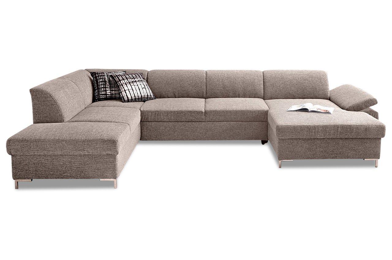 Sofa Wohnlandschaft Santana Mit Bett Webstoff Braun Beige Online