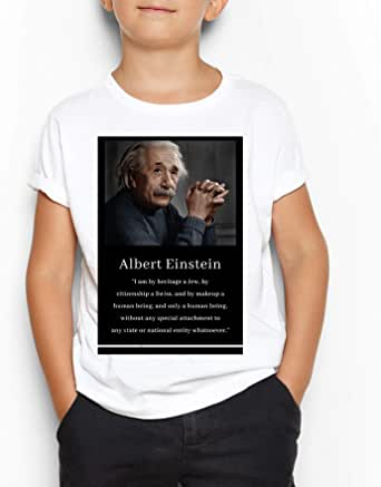 Albert Einstein White Round Neck T-Shirt For Kids 8-9 Years