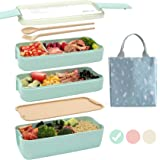 Ozazuco Bento Box Japanese Lunch Box, 3-In-1 Compartment, Wheat Straw, Leak-proof Eco-Friendly Bento Lunch Box Meal Prep…