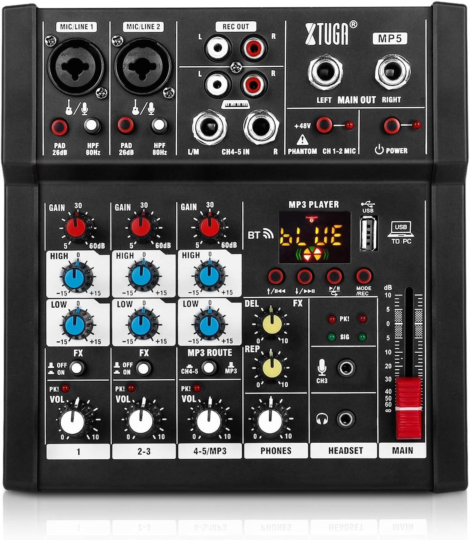 XTUGA Live Digital Audio Mixer Max 78% OFF 5 Supp Genuine Mixing DJ Channels Console
