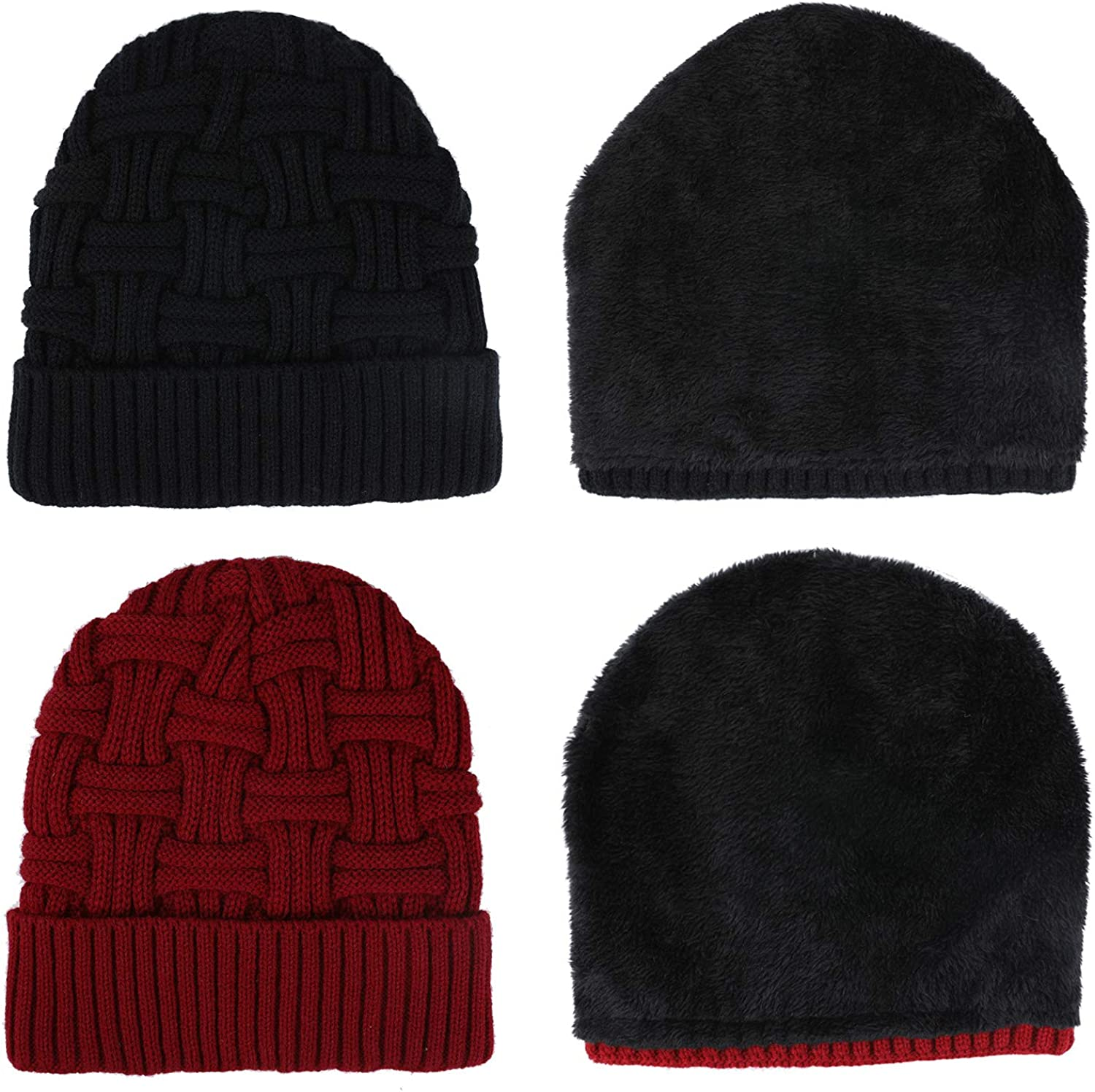 Zomme 2 Pack Mens Winter Hats Warm Knit Wool Thick Slouchy Beanie Hat Skull Cap