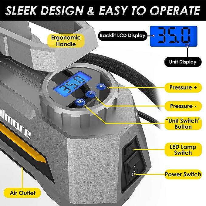 Amazon.com: Fahren Portable Air Compressor Pump Digital Tire inflator 12V 150 PSI Auto Tire Pump with Bright LED Light Digital Tire Pressure Gauge for Car ...