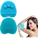 1 Pack Pure Silicone Food-grade Body Brush Shower Cleansing Scrubber Gentle Exfoliating Glove Soft Bristles (Blue)