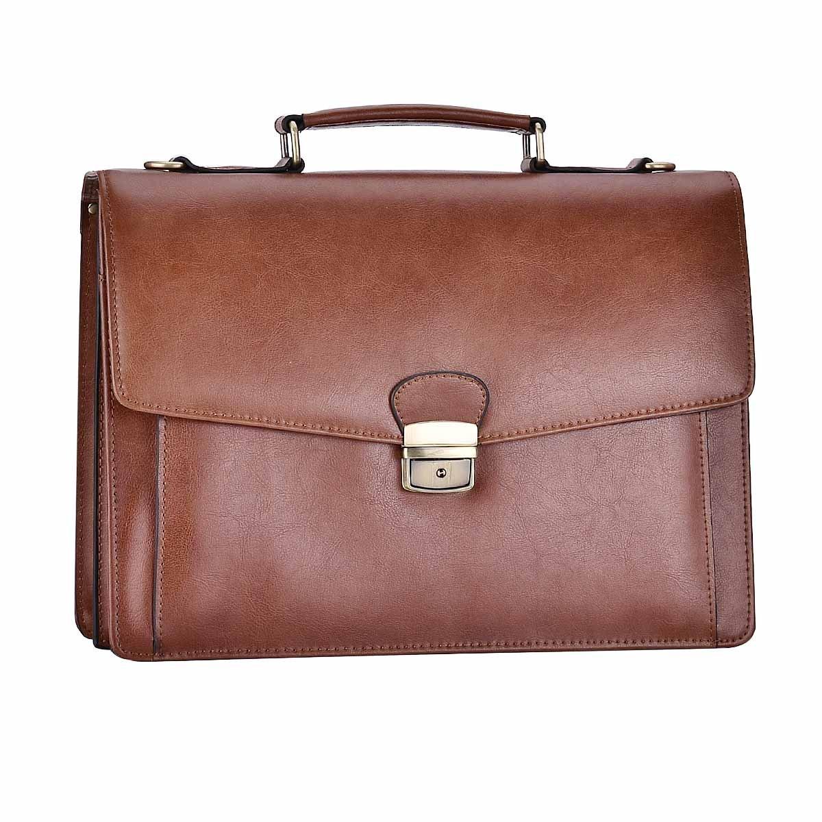 RUNWINDY Mens Leather Briefcase Cowhide Handbags with Lock (Brown)