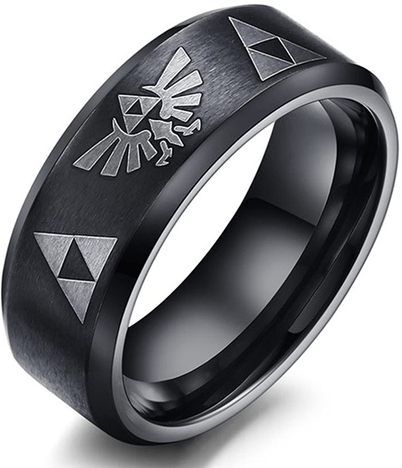 Nanafast 8mm The Legend of Zelda Triforce Ring, Stainless Steel Matte Finished Bands