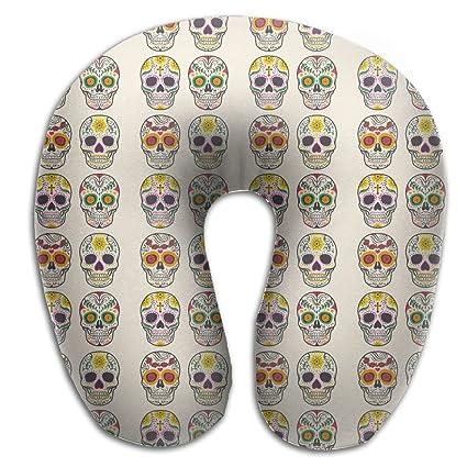 Colorful Mexican calavera azúcar calavera viajes y cómodo de almohada de cuello forma de U cojín