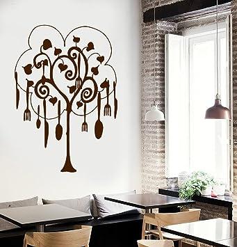 Cocina Ollas y Sartenes adorno de árbol Impresionante pared vinilo decoración para cocina y restaurantes: Amazon.es: Hogar