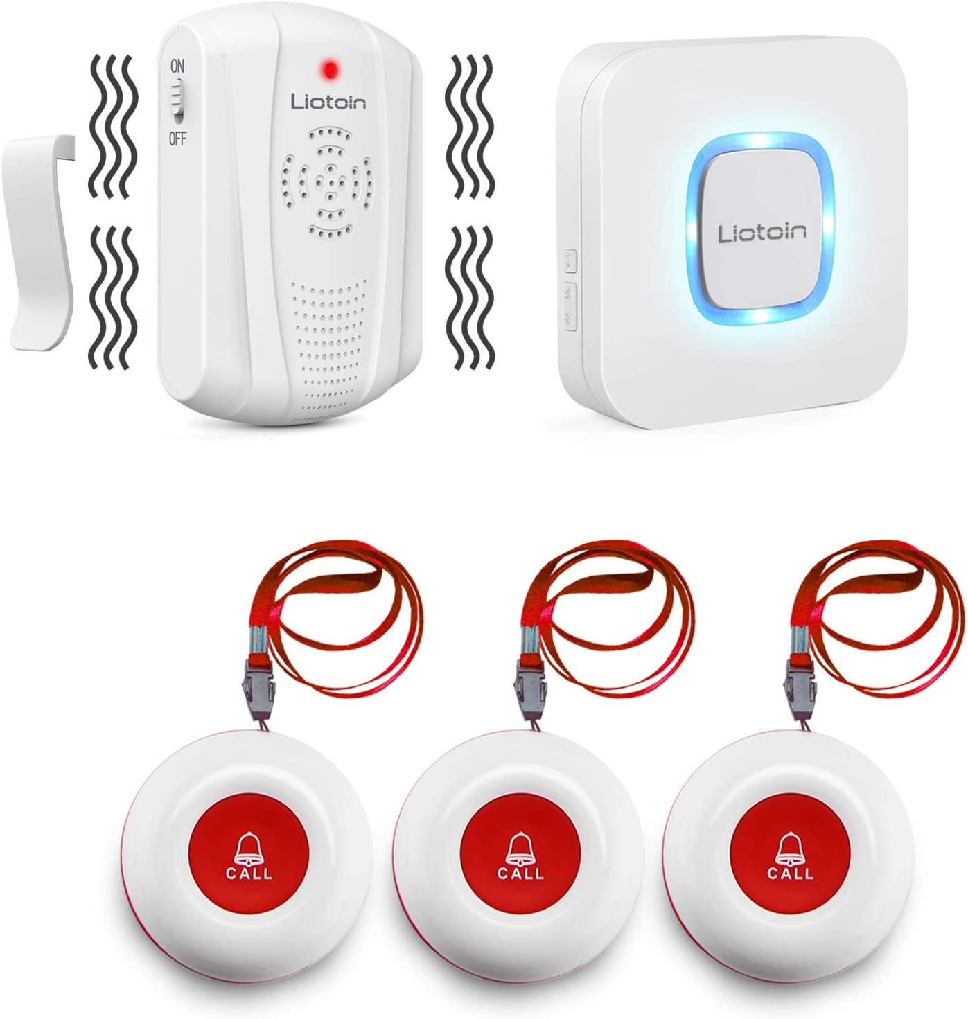 LIOTOIN Wireless Caregiver Pager Nurse Alert System Smart Call Button Call Bell for Home/Elderly/Patient Vibration Pager (Include Belt Clip),1 Portable Receiver+1Plugin Receiver +3 Transmitter