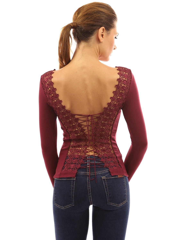 PattyBoutik Mujer cordón parte superior de la blusa de manga larga (borgoña 44): Amazon.es: Ropa y accesorios