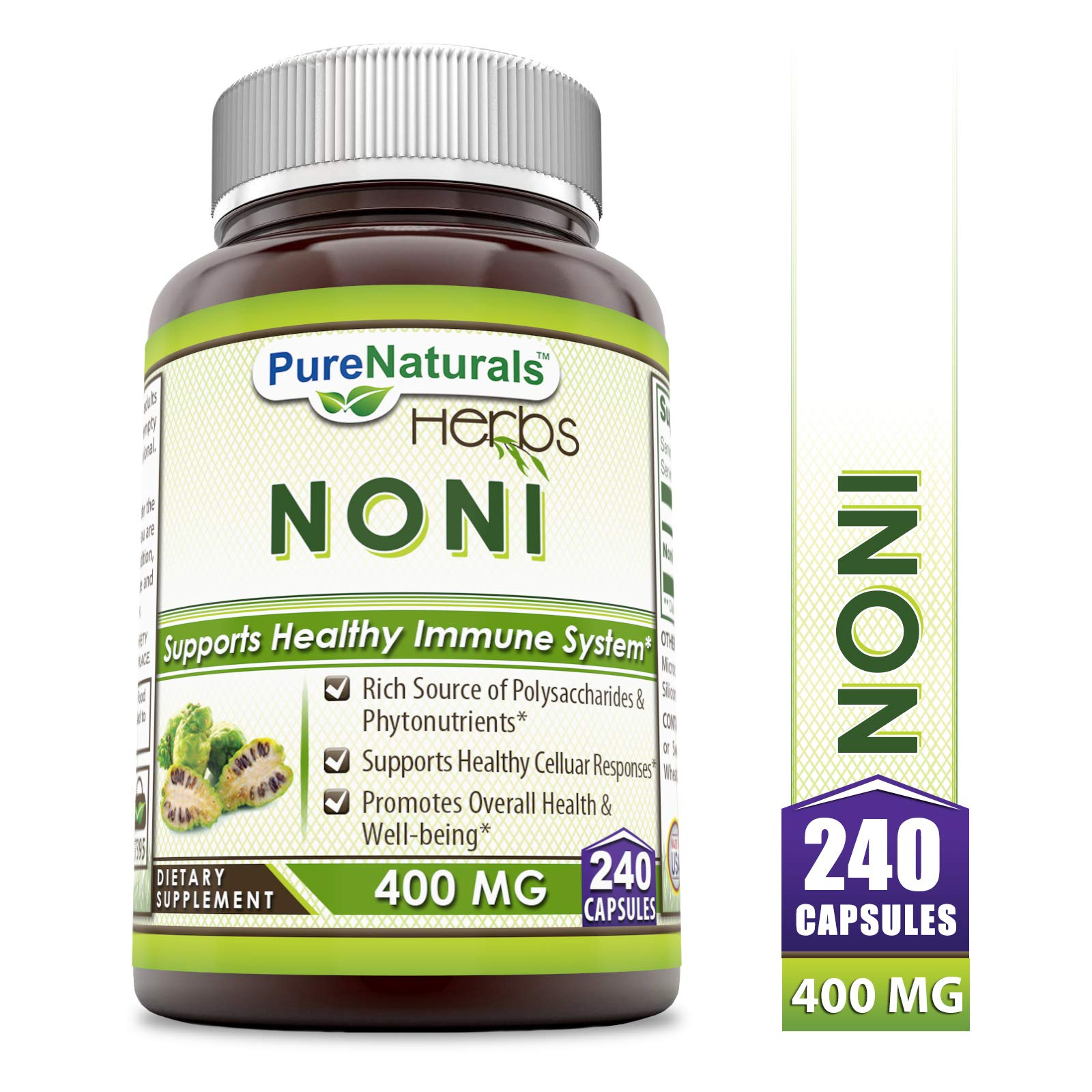 Pure Naturals Noni 400 mg 240 Capsules (Non-GMO) Rich Source of Polysacharides & Phytonutrients, Supports Healthy Celluar Responses, Promotes Overall Health & Well-Being by Pure Naturals