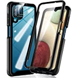 HATOSHI Samsung Galaxy A12 Case, with Built in Screen Protector and 2 Pack Camera Lens Protector, 5X Military-Grade Shockproo