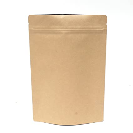 AwePackage Heavy Duty Kraft Paper Self Standing Resealable Zipper Pouch Bags (1 oz- 16 oz) - FDA and USDA compliant (100, 8 Oz)