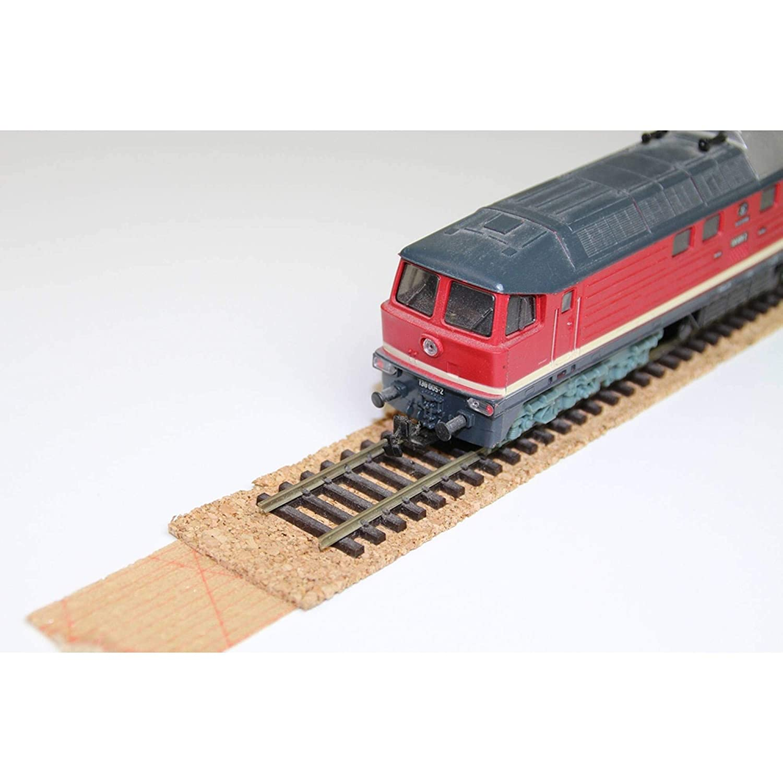 Modellbauartikel als Gleisunterlage 1,7 x 100cm * St/ärke 5 mm * Zuschneidbar * Antistatisch * Vibrationsd/ämmende Schienenunterlage Gleisbettung acerto 30058 10x Gleisbett aus 100/% Naturkork f/ür Spur Z