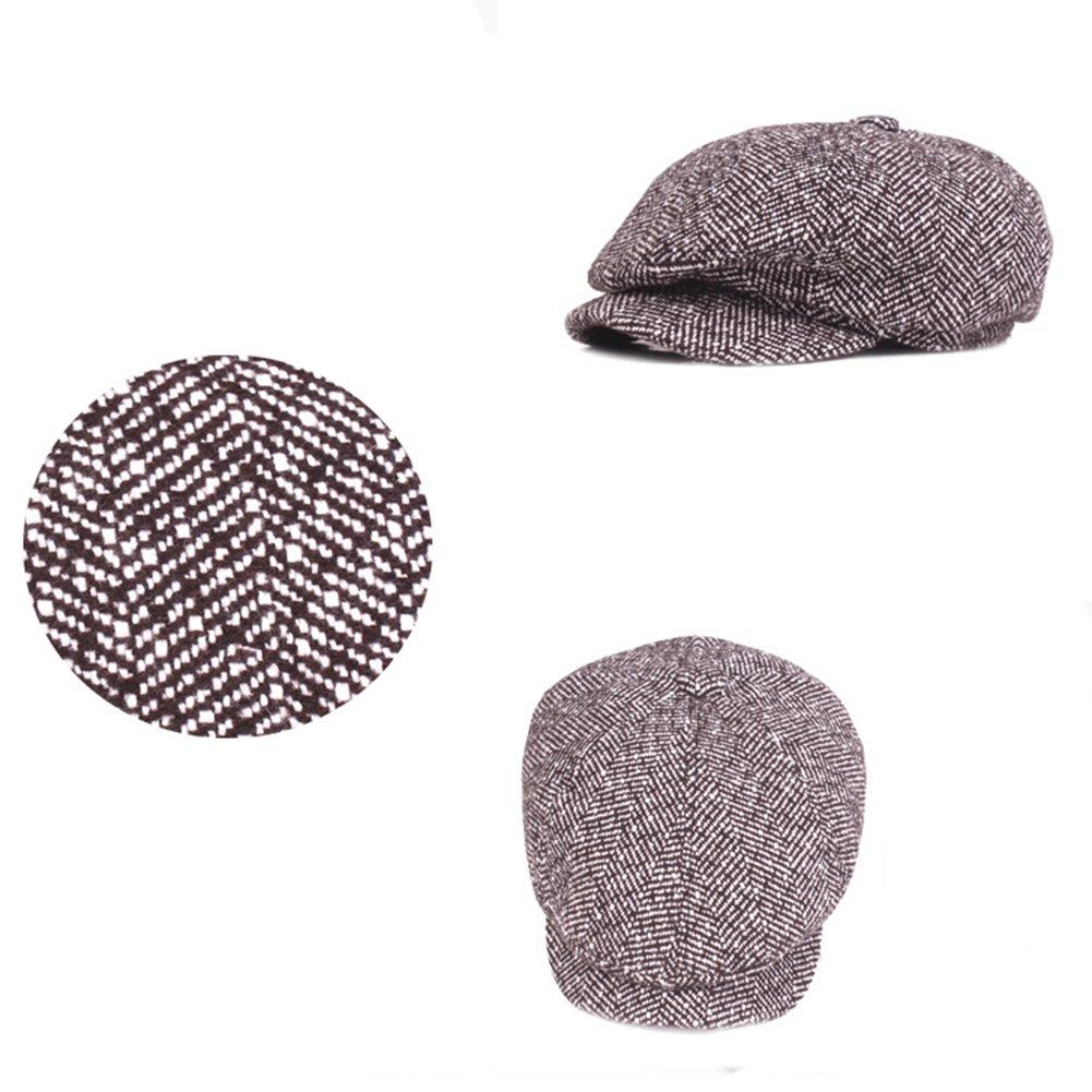 BIGBOBA Oto/ño y Invierno verdickung Mono cromo juvenil de Beret Unisex Pico de Pato Tapa exterior de ocio de visor Retro