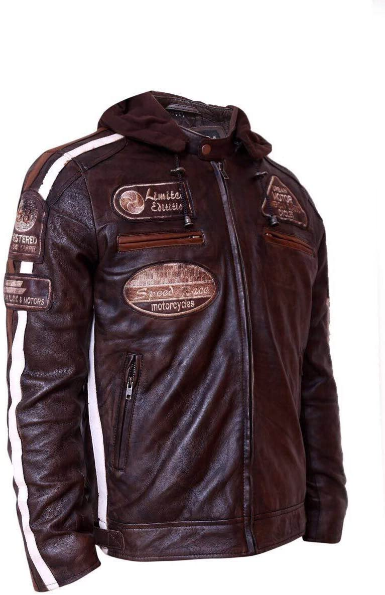 Shoulders and Elbows Lambskin Leather Motorcycle Jacket Urban Leather Motorbike Jackets For Men 58 GENTS CE Approved Remouvable Armour for Back