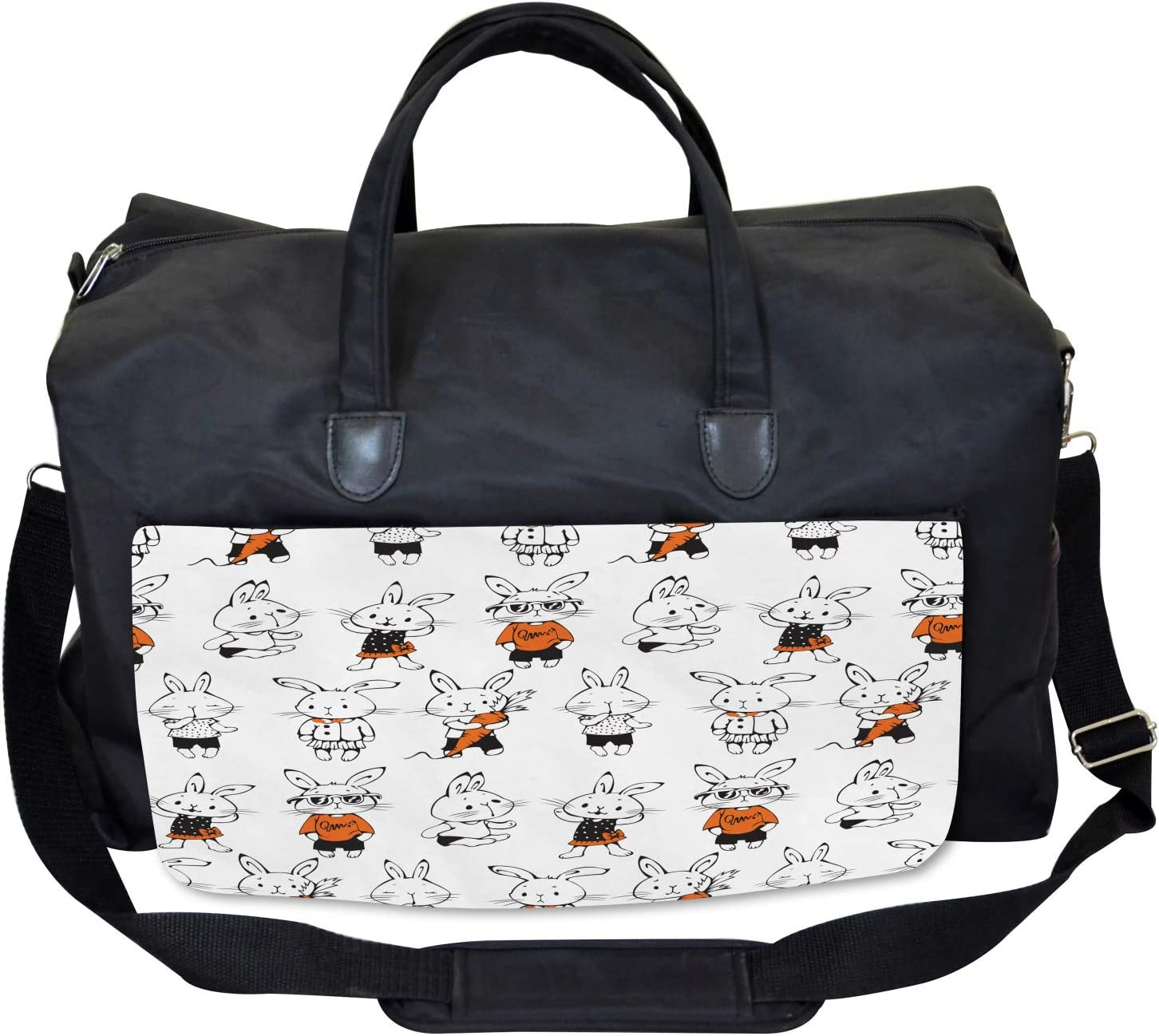 Large Weekender Carry-on Ambesonne Funny Gym Bag Cute Retro Bunny Rabbits