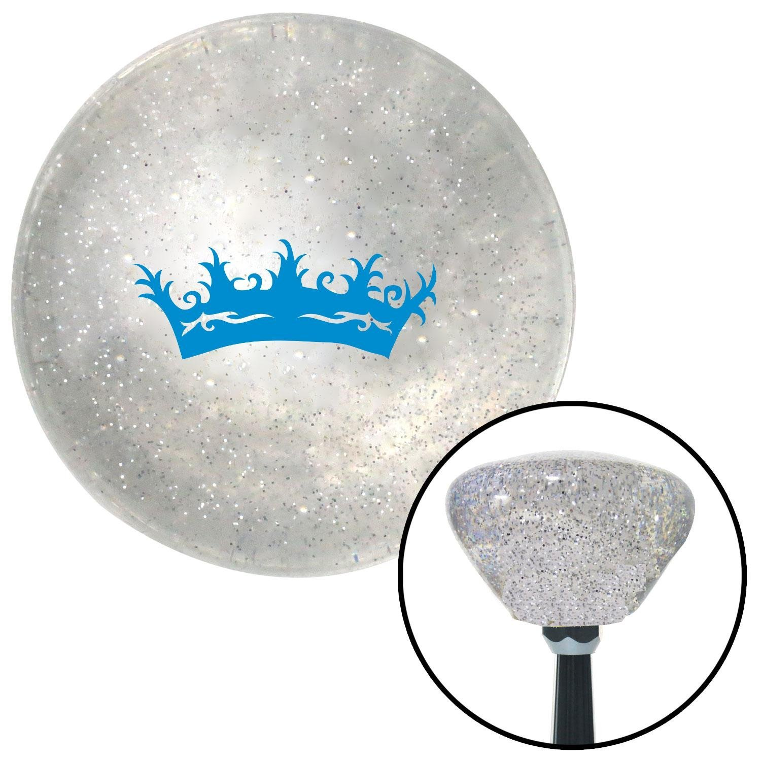 American Shifter 160837 Clear Retro Metal Flake Shift Knob with M16 x 1.5 Insert Blue Prince Crown