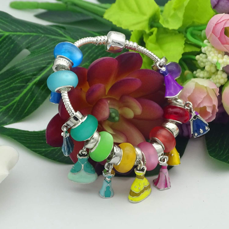 LINA55 Colorful Princess Dress Bracelet /& Bangles for Woman Glass Bead Pan Charm Bracelets Female Jewelry