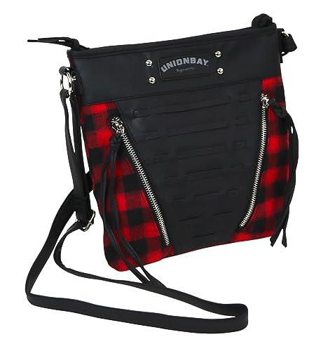 43062f51a Unionbay Crossbody Handbag With Adjustable Faux Leather Strap - Red and  Black Flannel: Handbags: Amazon.com