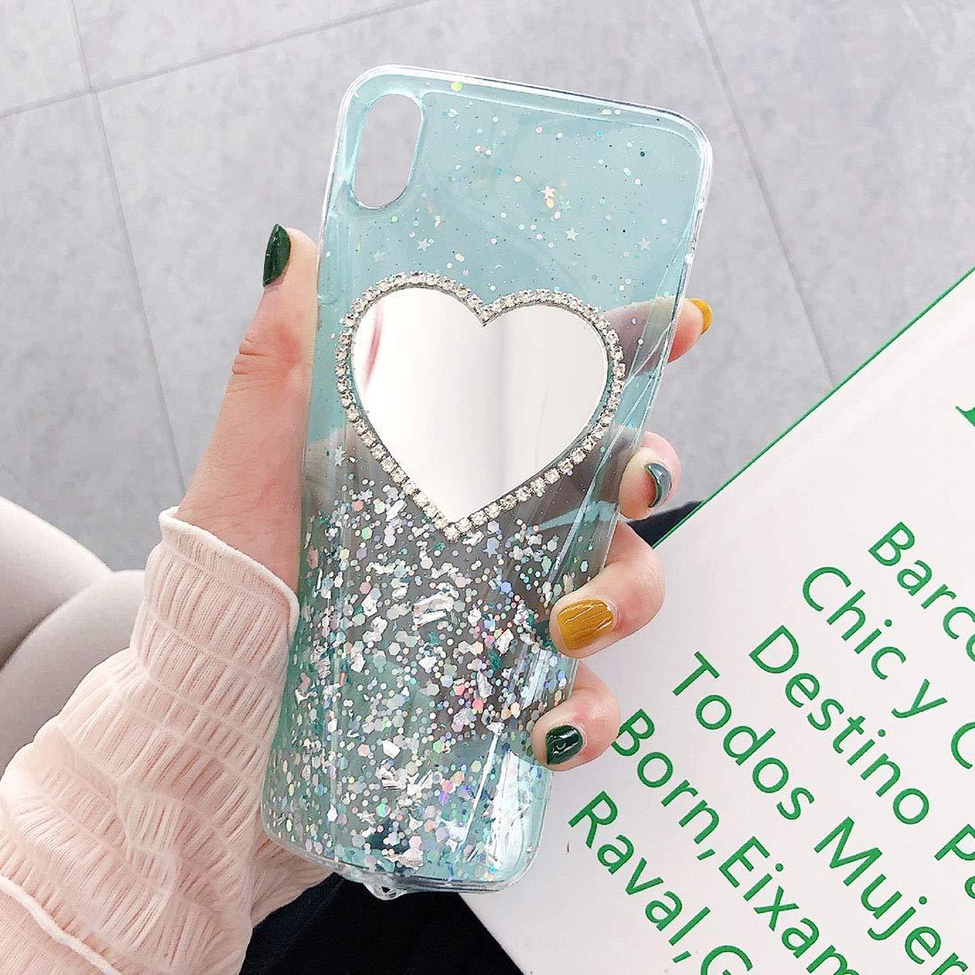Uposao Compatibile con iPhone 7//8 Diamante Brillante Fatto a Mano Indietro Custodia,Moda per Donna Trucco Specchio Copertura,Diamante Specchio Cover,Blu
