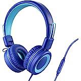 POWMEE P10 Kids Headphones with Microphone Stereo Headphones for Children Boys Girls,Adjustable 85dB/94dB Volume Control Fold
