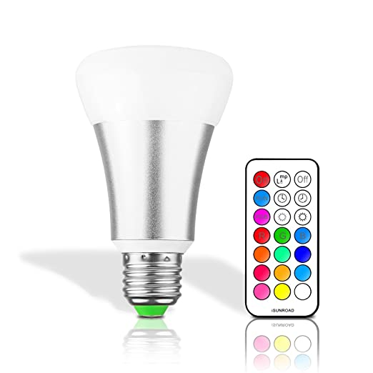 LemonBest® Bombilla LED 10W RGBW E27, 12 Colores Cambio de Color, 21 Key