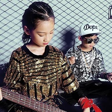 a0fc939710ac Amazon.com  Boys Girls Paillette Glitter Dancewear Hip Hop Jazz ...