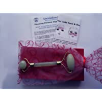 APO033F Feng Shui Green Jade Face Massager/Roller + Instructions + Organza Pouch + Red Box