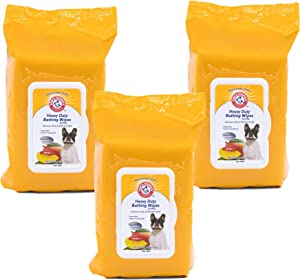 Arm & Hammer for Pets Heavy Duty Multipurpose Pet Bath Wipes | Dog Wipes Remove Odor & Refreshes Skin | Mango, 3 Pack, Grooming Wipes, White