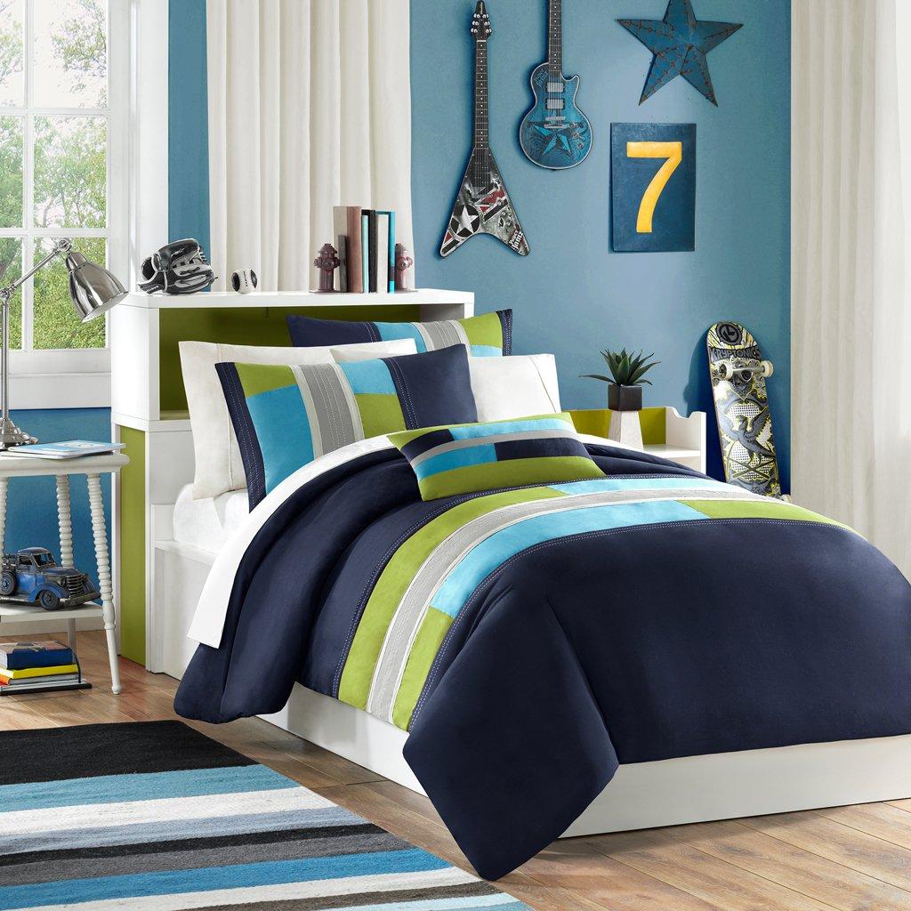 amazoncom mizone pipeline comforter set full queen navy home u0026 kitchen