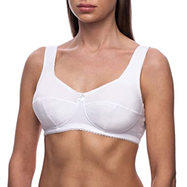 fc0cff3c54de7 frugue Women s Cotton Wireless Plus Size Unlined Minimizer Bra White 34  DDD E