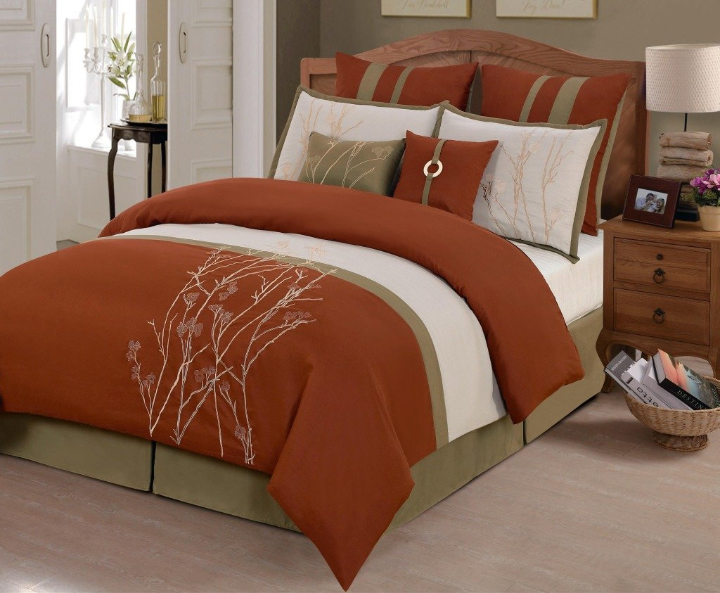 outlet rust home decor vienna comforter set stripe