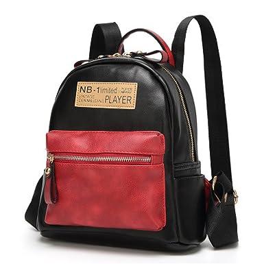 Mädchen PU Leder Rucksäcke Mode Nähte Handtaschen Daypack Reise Schultaschen Doppel Umhängetasche,Brown-OneSize Addora