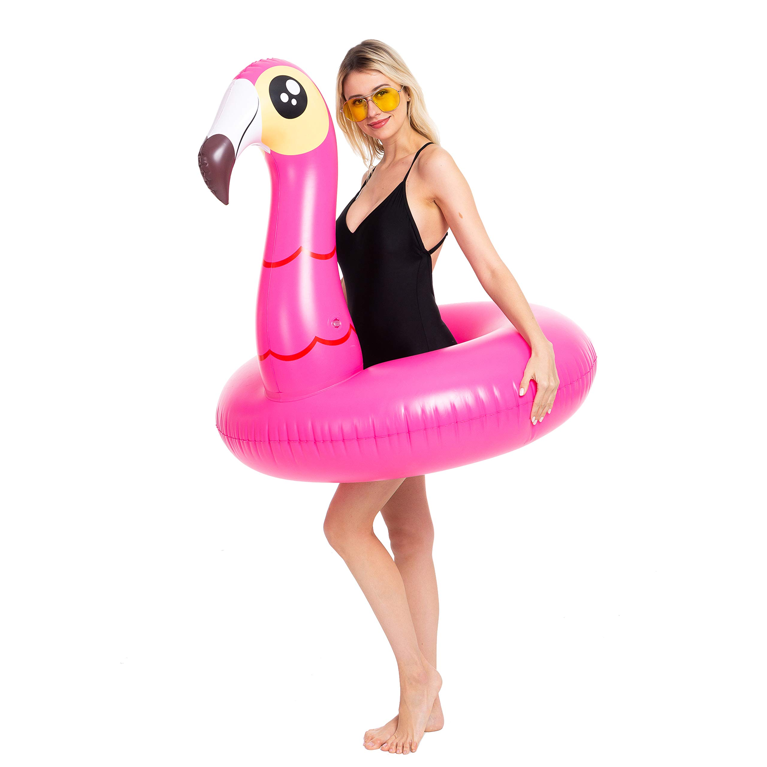 JOYIN Inflatable Flamingo and Unicorn Pool Float 2 Pack, Fun Beach Floaties, Swim Party Toys, Summer Pool Raft Lounger for Adults & Kids (Inflates to Over 4ft. Wide) by JOYIN (Image #3)